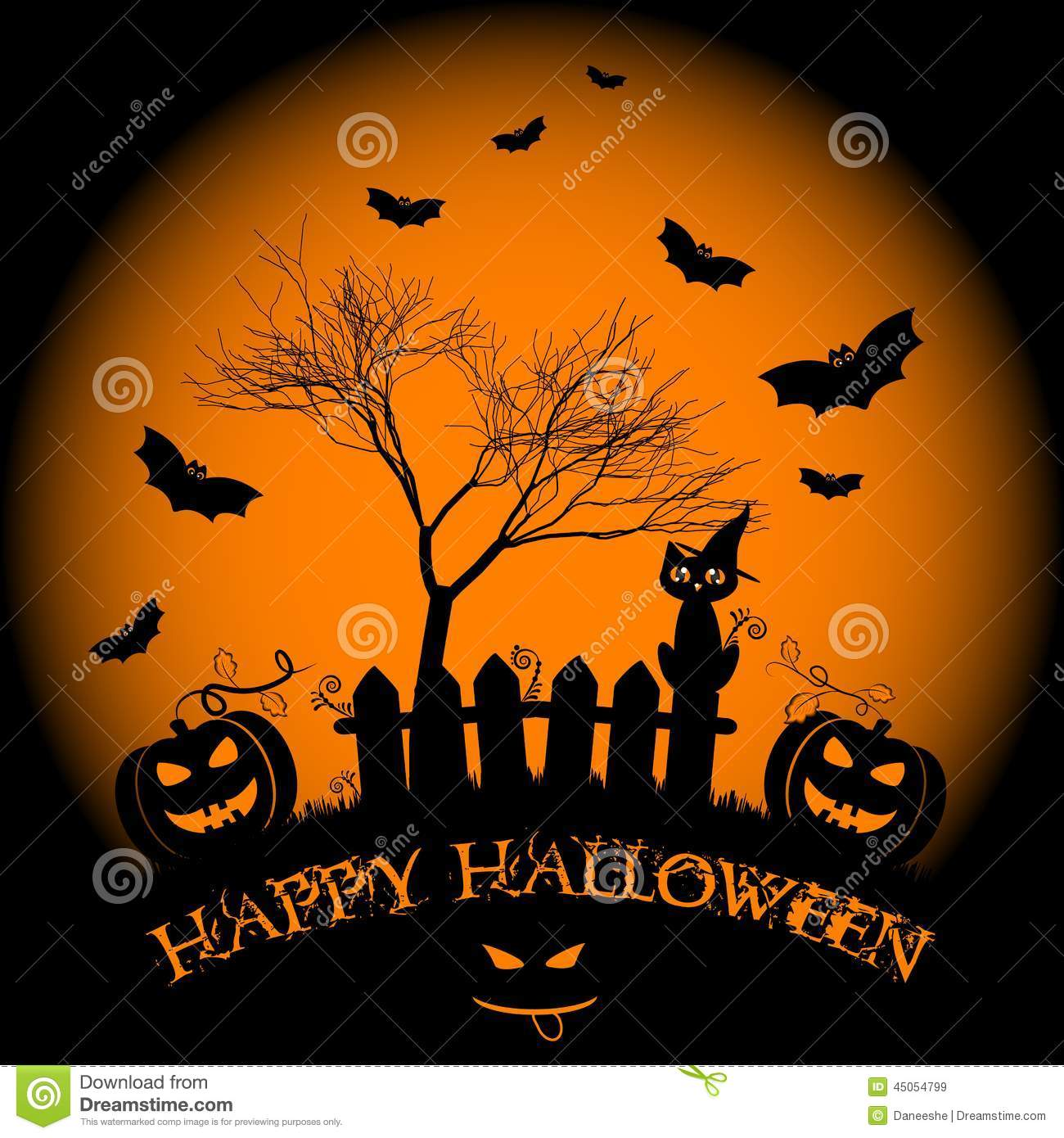 Holiday Illustration On Theme Of Halloween. Wishes For Happy Halloween.  Trick Or Treat. Decor, Greeting.