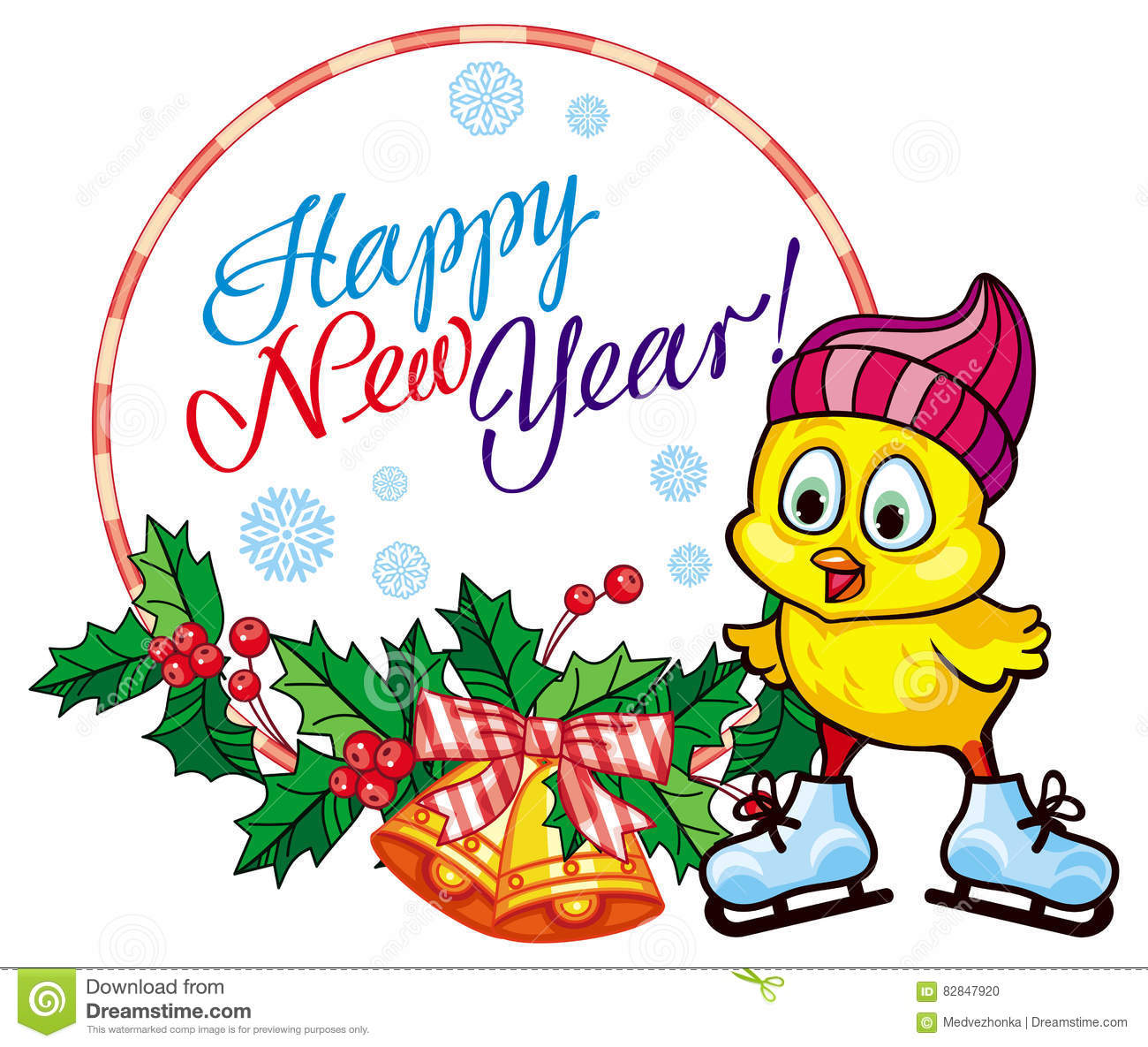 holiday label with cute chicken and greeting texthappy new year copy space raster clip art