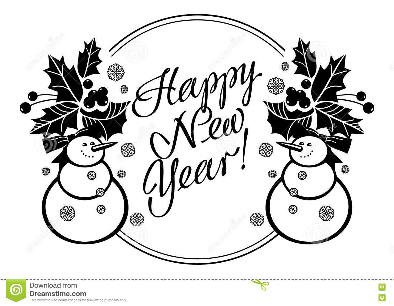 Holiday Label With Funny Snowman And Written Greeting `Happy New ...