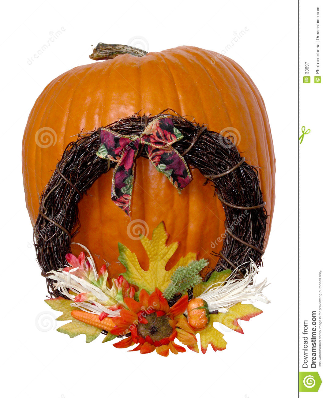 Holiday: Large Pumpkin & Wreath
