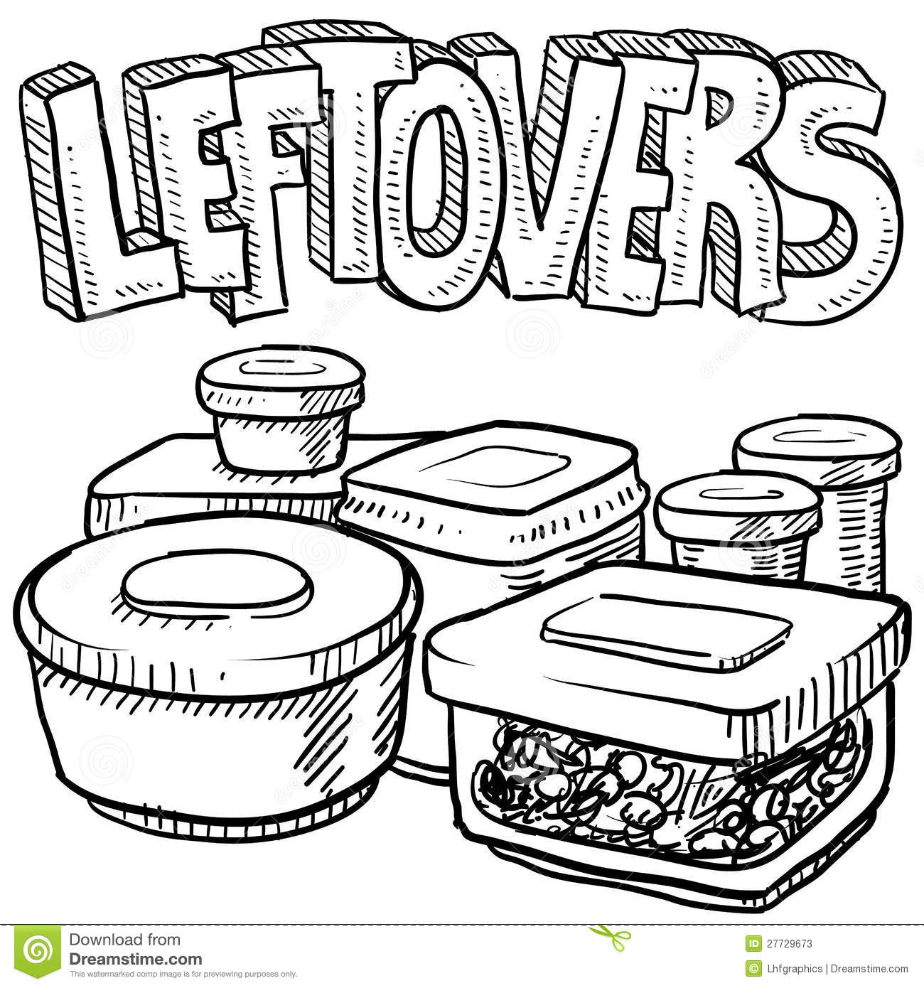 Holiday Leftovers Food Vector Sketch Stock Vector Image