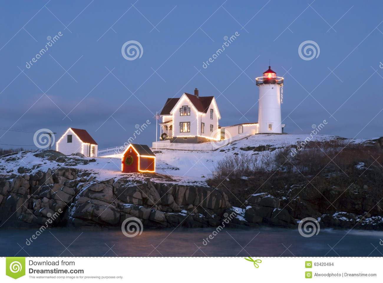 Holiday Lights At Cape Neddeck (Nubble) Lighthouse In Maine Stock ...