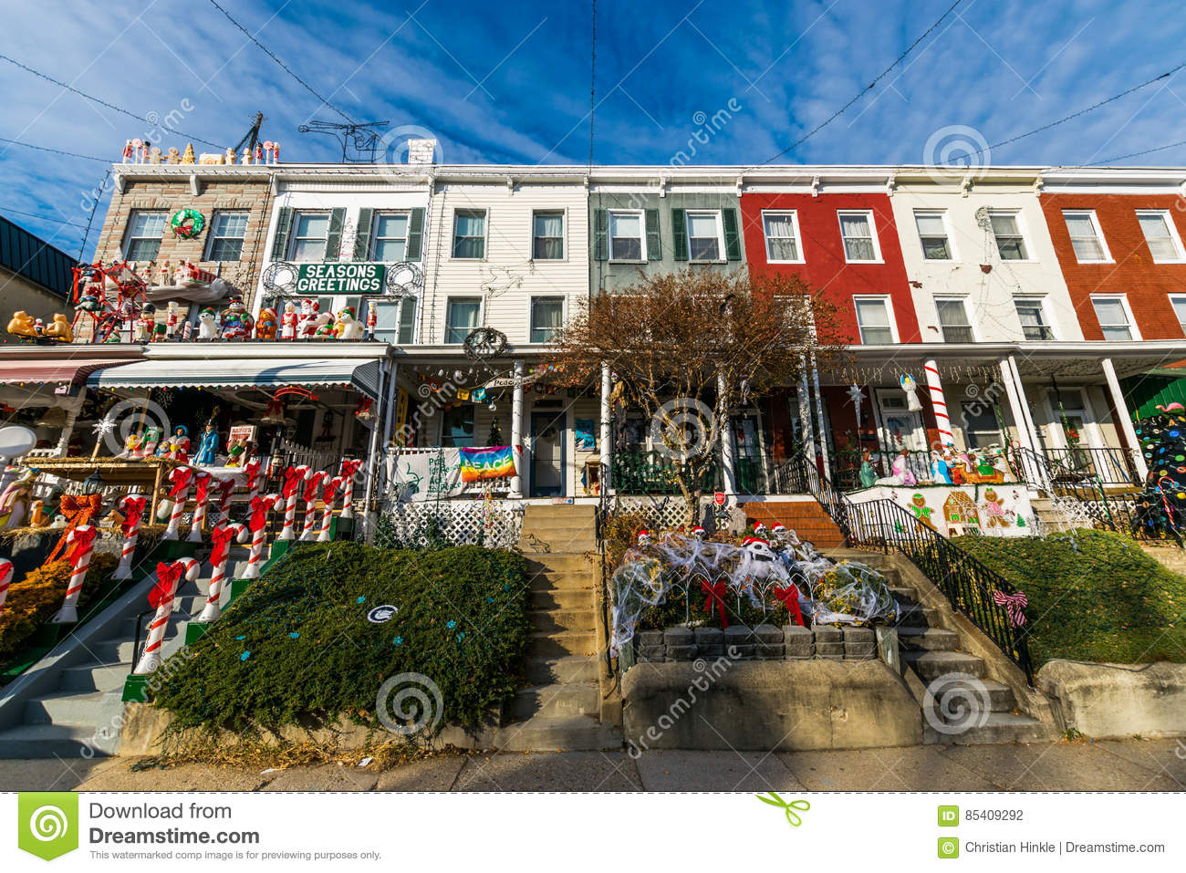 Baltimore Christmas 2021 Holiday Lights And Decoration In Hampden Baltimore Maryland Stock Photo Image Of Harbor America 85409292