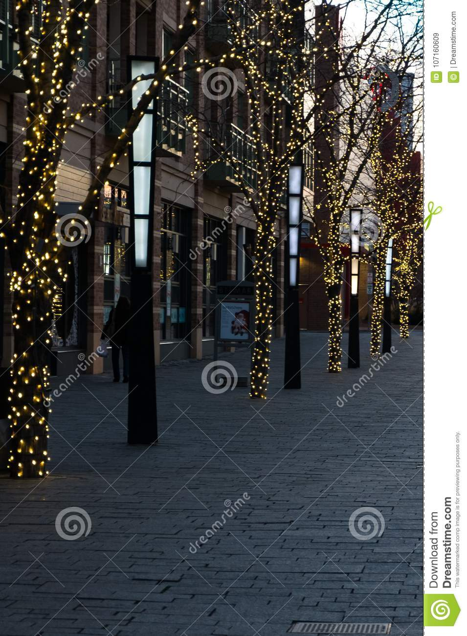 Holiday Lights In Downtown Lakewood Colorado At Dusk