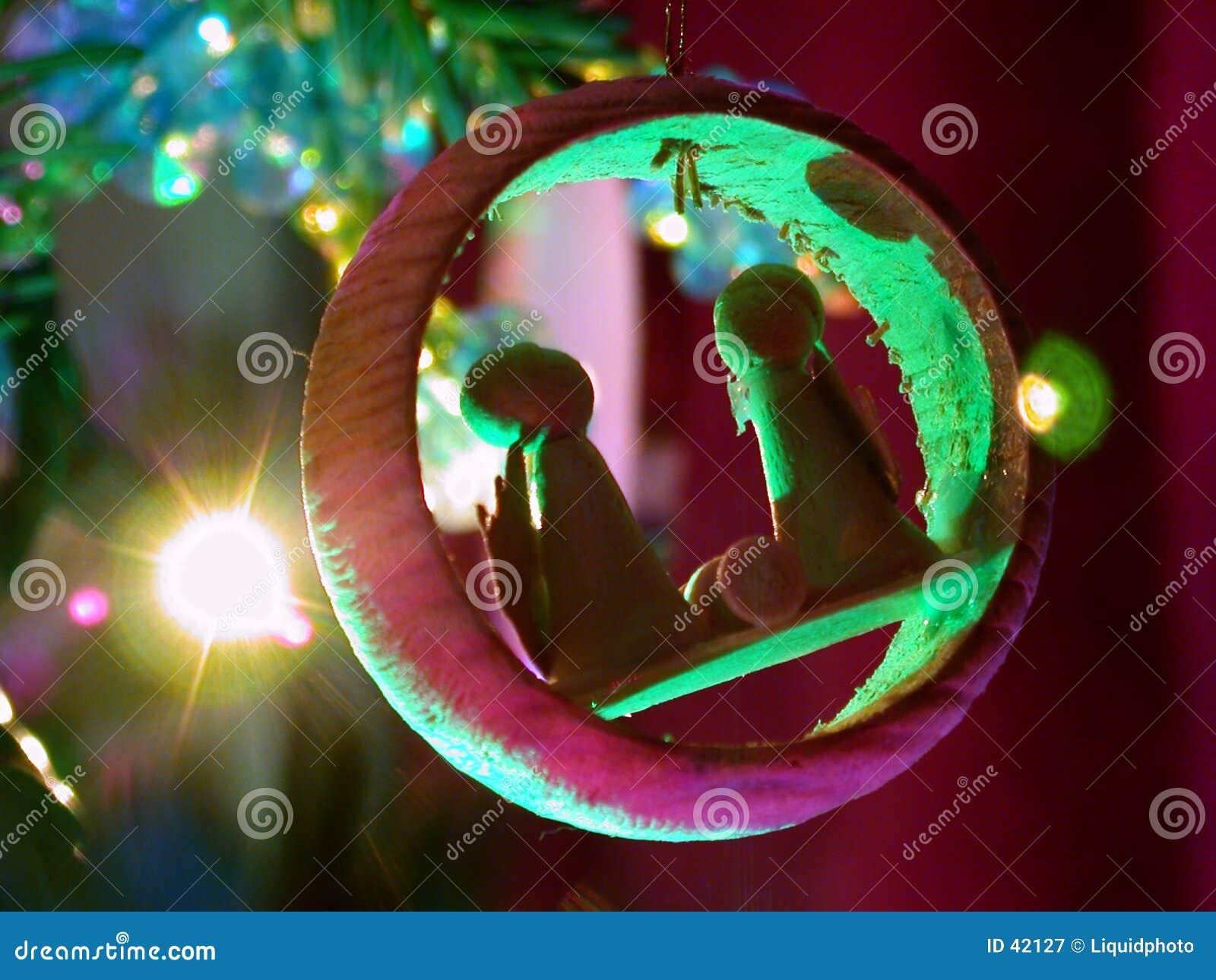 Holiday lights nativity ornament