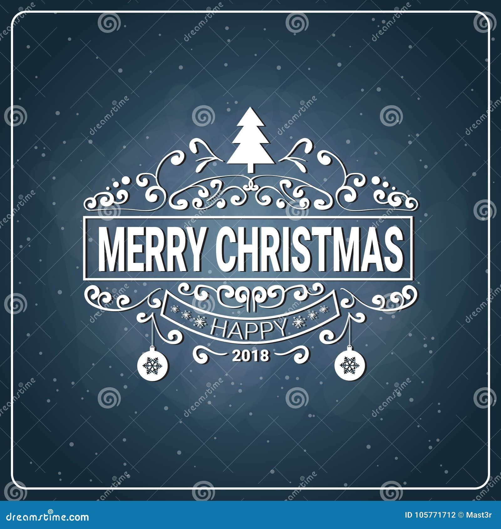 Christmas Board Design.Holiday Logo Design Vintage Merry Christmas Icon On Chalk