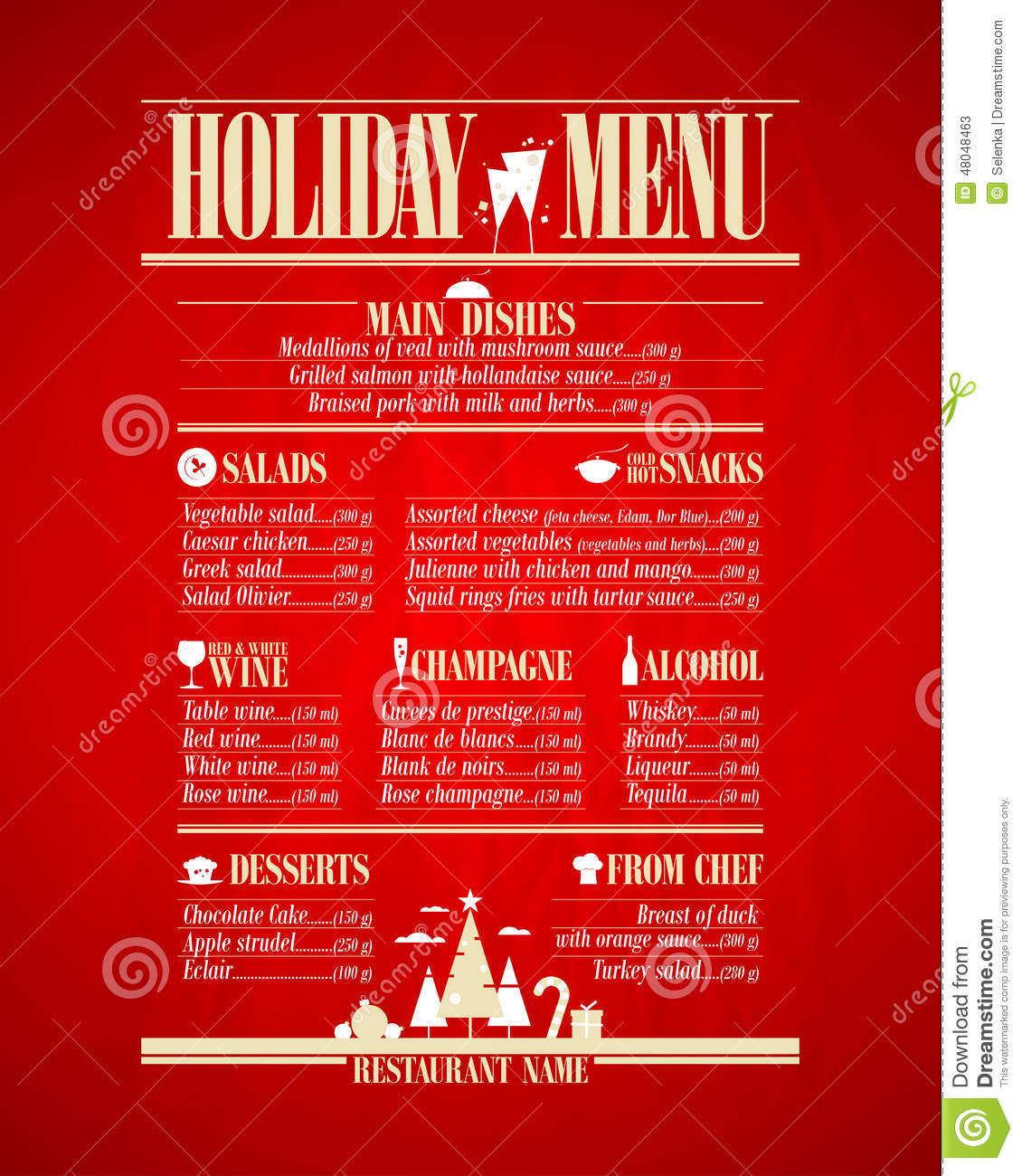Holiday Menu List, New Year. Stock Illustration - Image: 48048463
