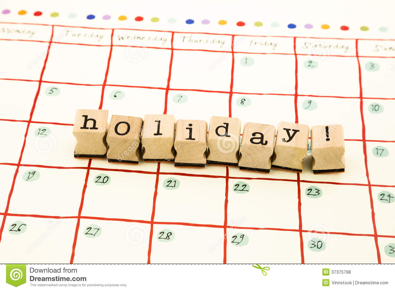 holiday note date stack on calendar royalty free stock