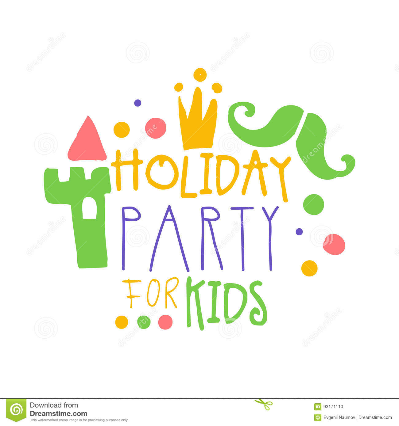 Holiday party for kids promo sign childrens party colorful hand download comp stopboris Image collections