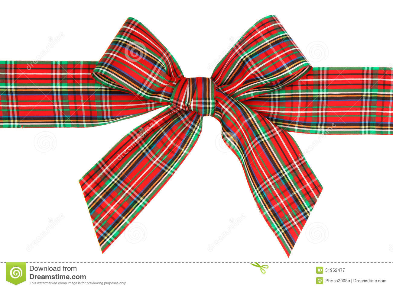 holiday red plaid ribbon bow stock image image of gift compliment