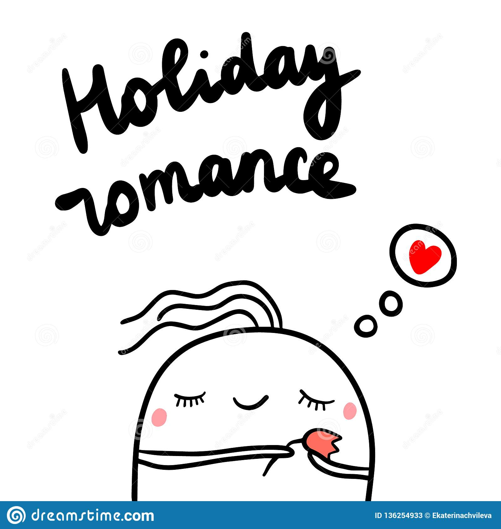 Holiday romance hand drawn illustration with cute marshmallow holding tulip