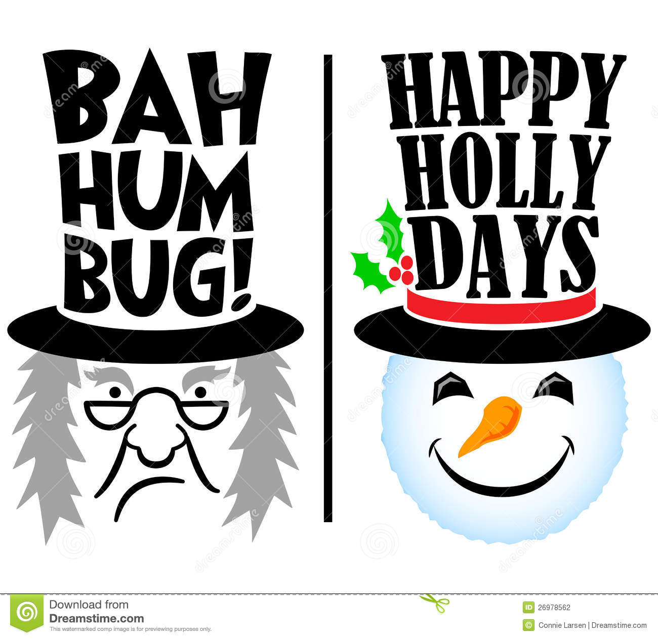Cartoon Christmas holiday characters, grumpy scrooge and happy snowman ...