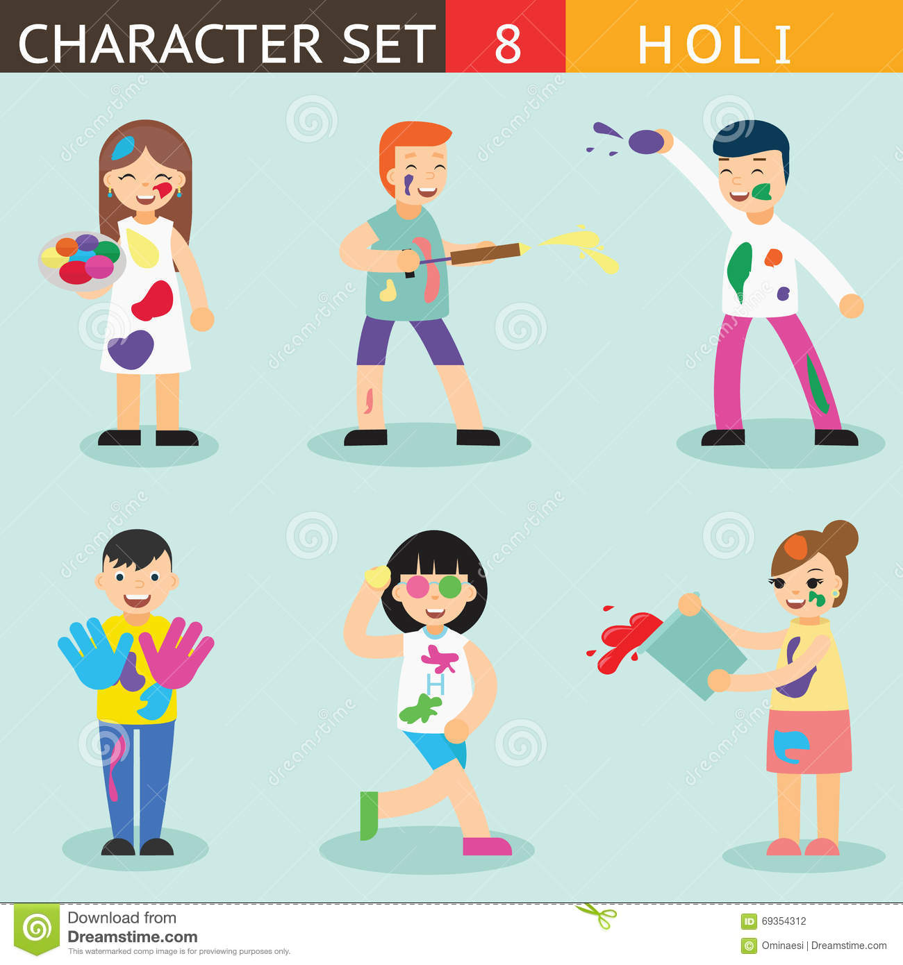 set of holi flat elements in indian style vector drum set player clipart drum set clipart black and white