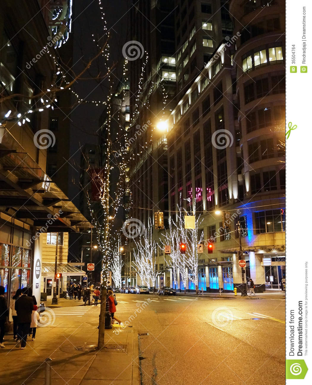 Holiday Season At Downtown Seattle Editorial Stock Image