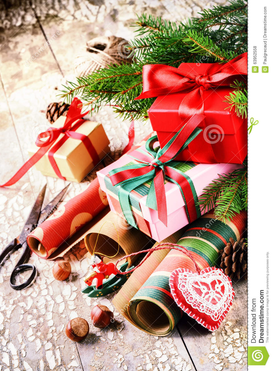 Holiday Setting With Handmade Gift Boxes And Wrapping
