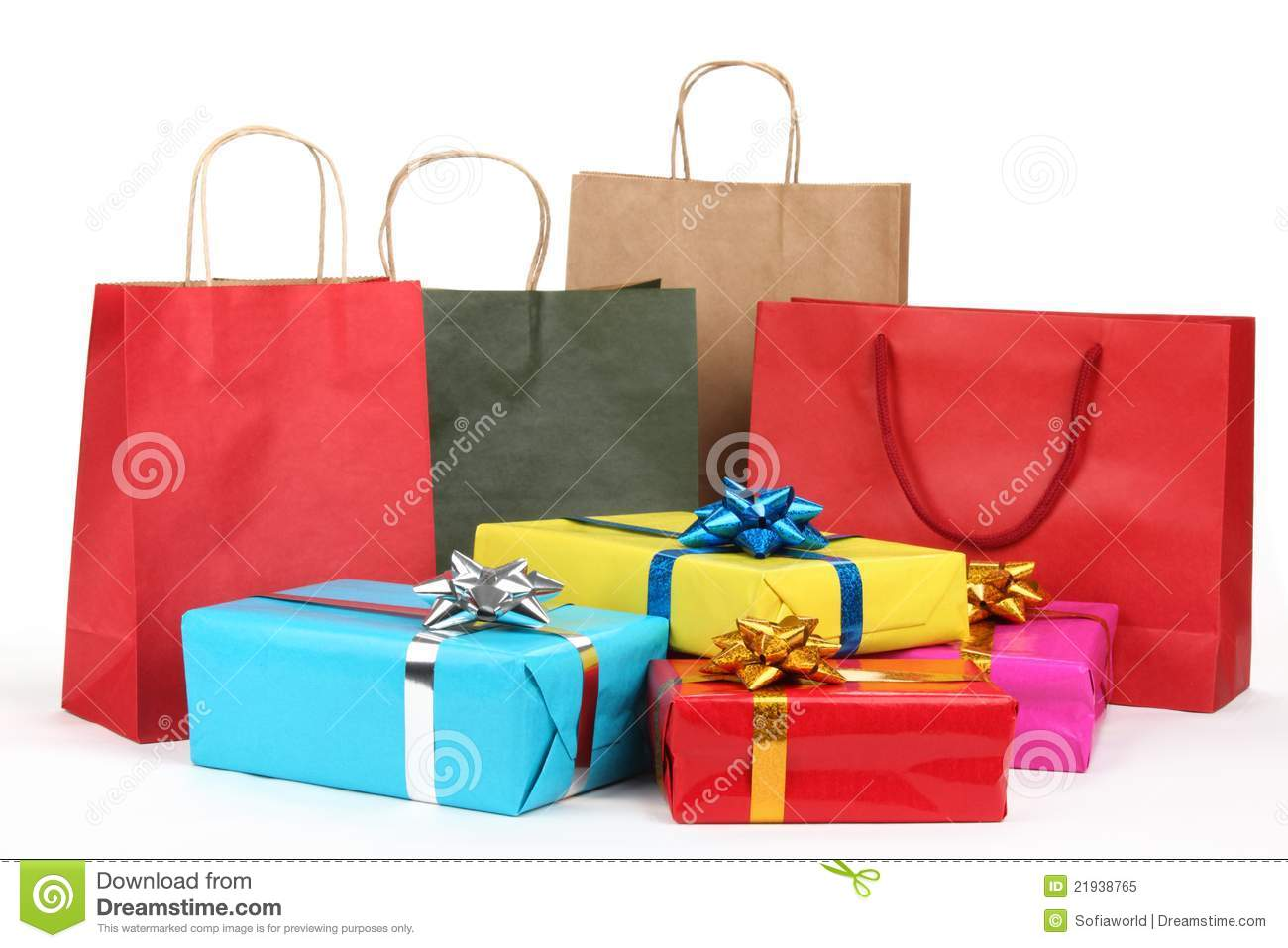Holiday shopping bags and gift boxes stock image