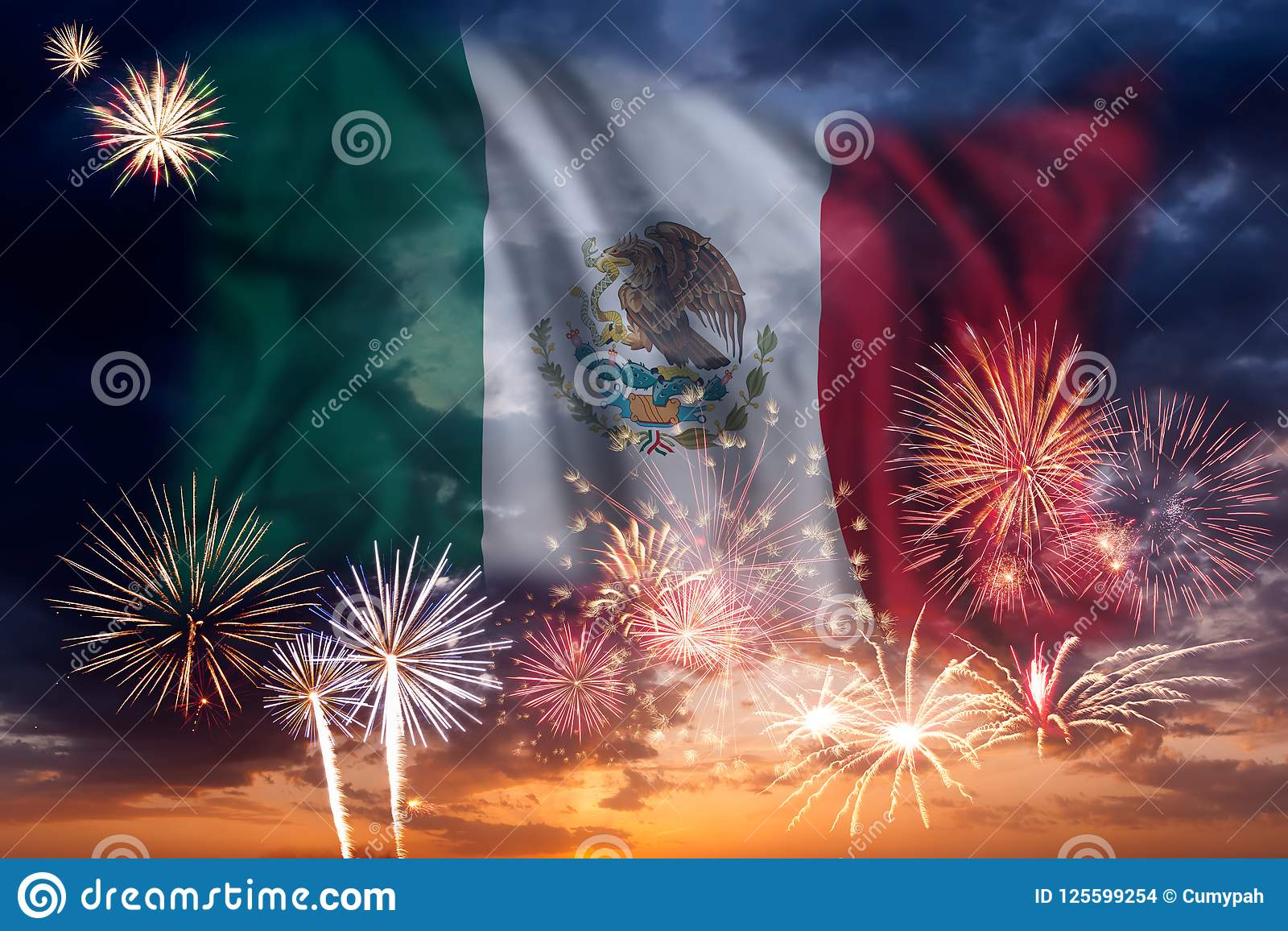 Fireworks and flag of Mexico
