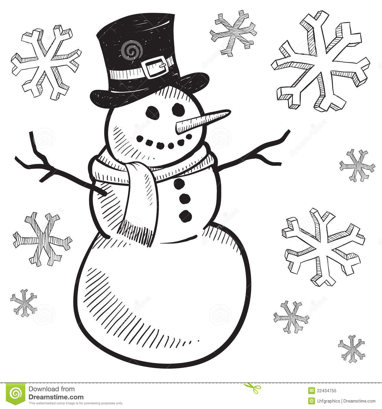 Holiday Snowman Drawing Stock Vector. Illustration Of Family - 22434755