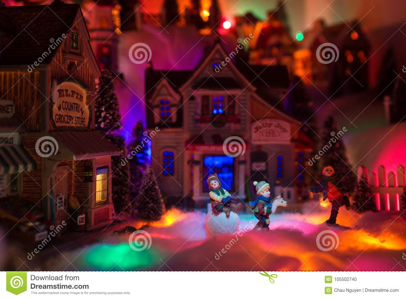 Christmas scenery concept with kids happy playing in snow in the