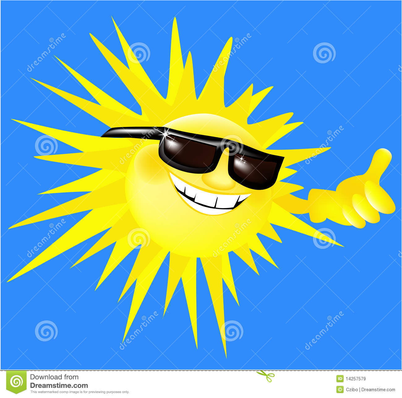 Holiday cartoon sun in sunglasses - vector illustration.