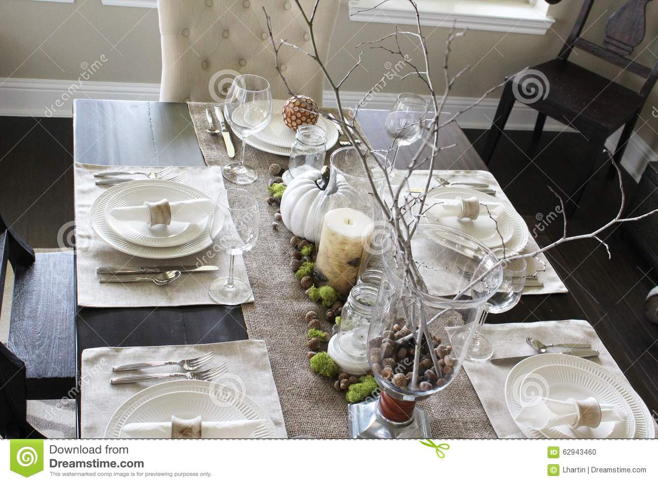 Holiday table setting stock photo image 62943460 for How to set a beautiful dinner table