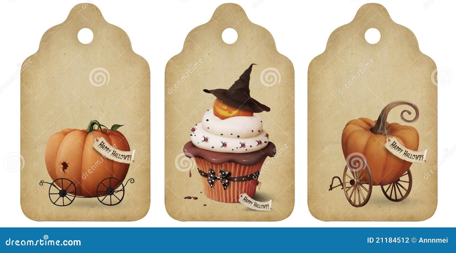 Holiday tags, invitation, Halloween
