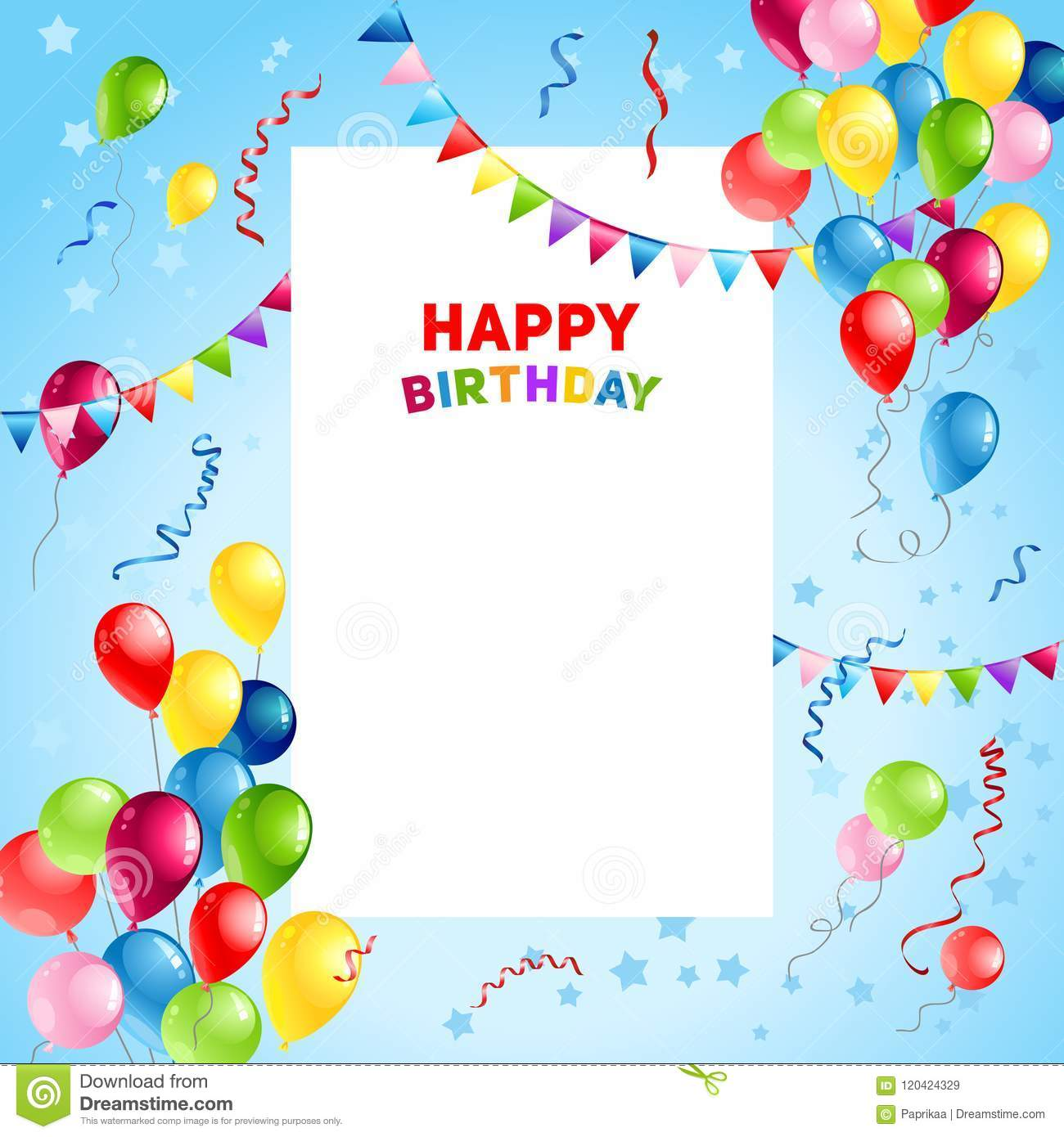 Balloons Happy Birthday Card Template Stock Vector