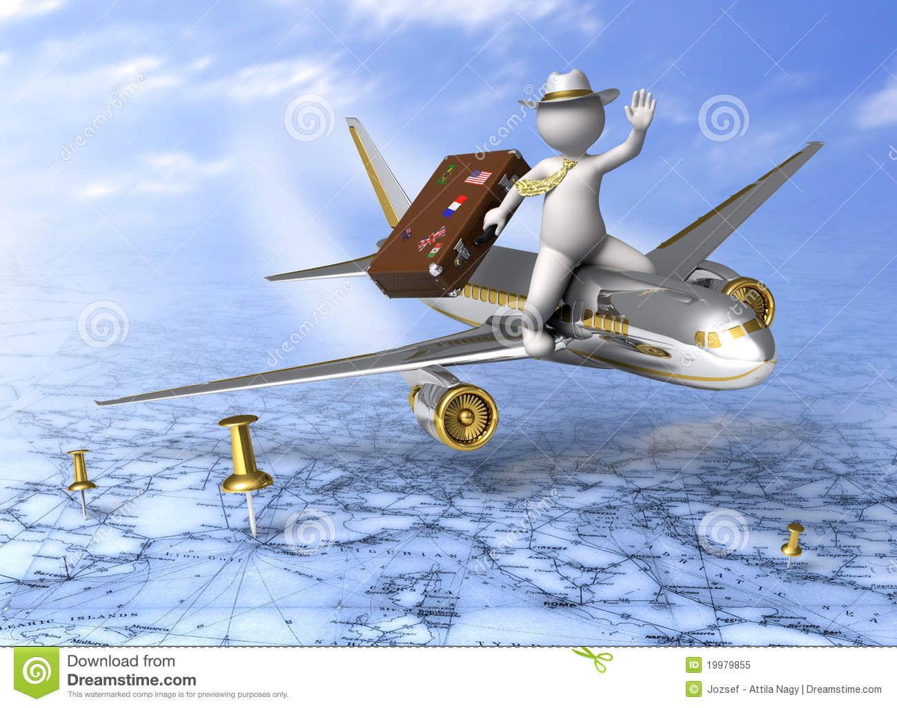 Holiday Trip  3d Guy Flying Stock Illustration
