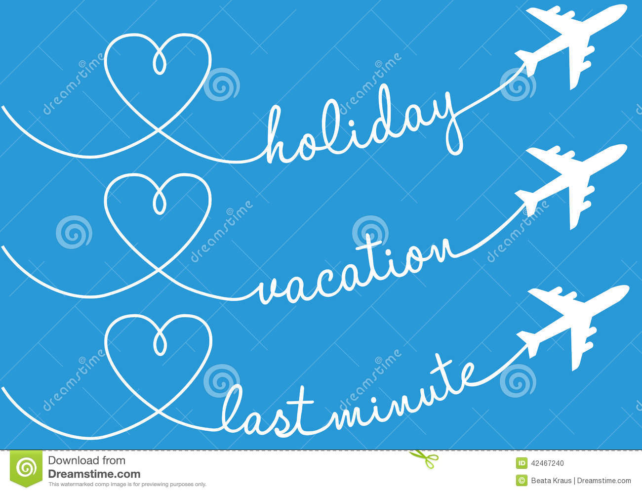 Holiday vacation flying vector set stock vector image for Week end last minute