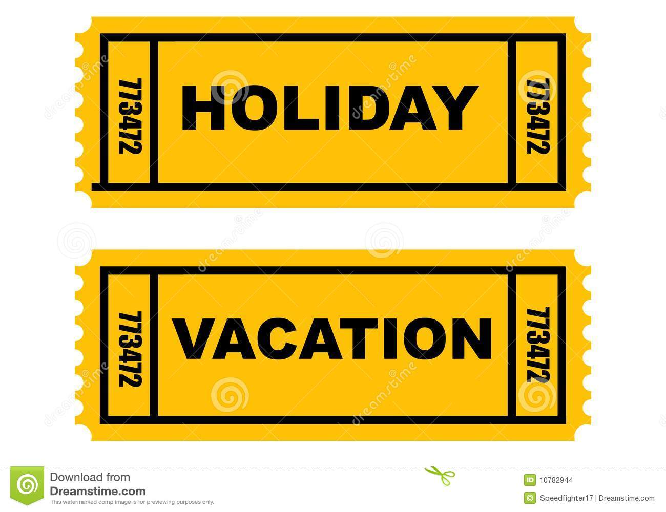 Holiday and vacation tickets isolated on white background.