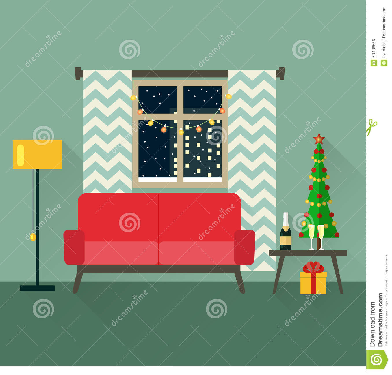 Christmas Room Stock Vector Image Of Illuminated: Holiday Vector Concept Illustration In Flat Style
