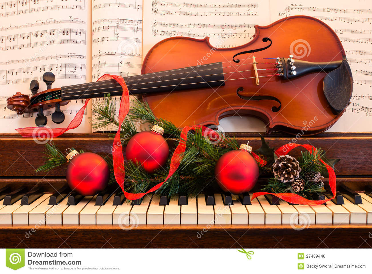 holiday violin and piano stock photo. image of fiddle - 27489446