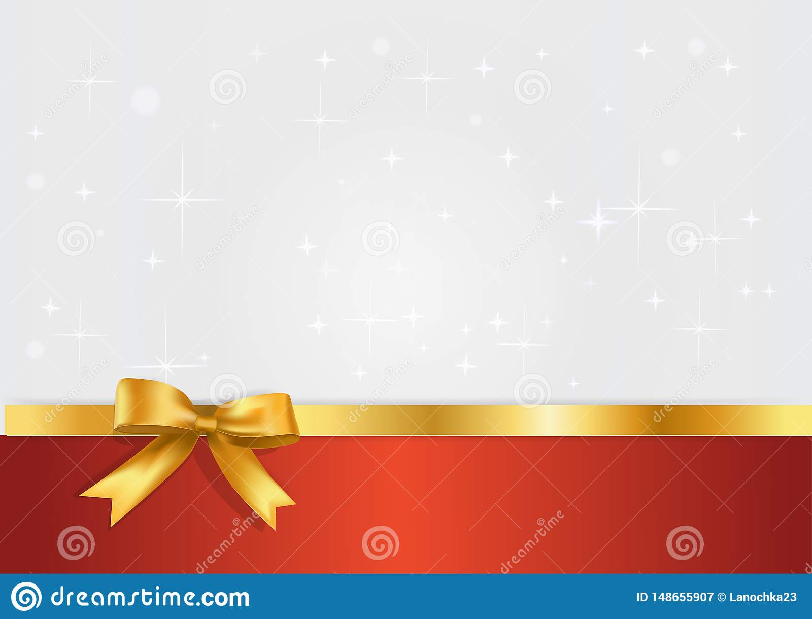 Holiday white and red banner with gift glossy realistic gold bow and ribbon. Glitter light silvet starry background with golden