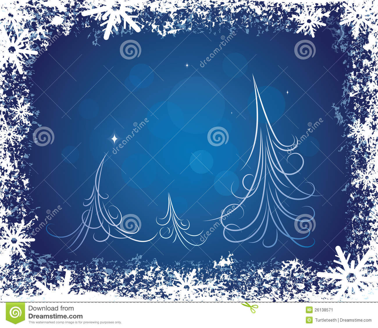 Winter background with trees and snowflakes