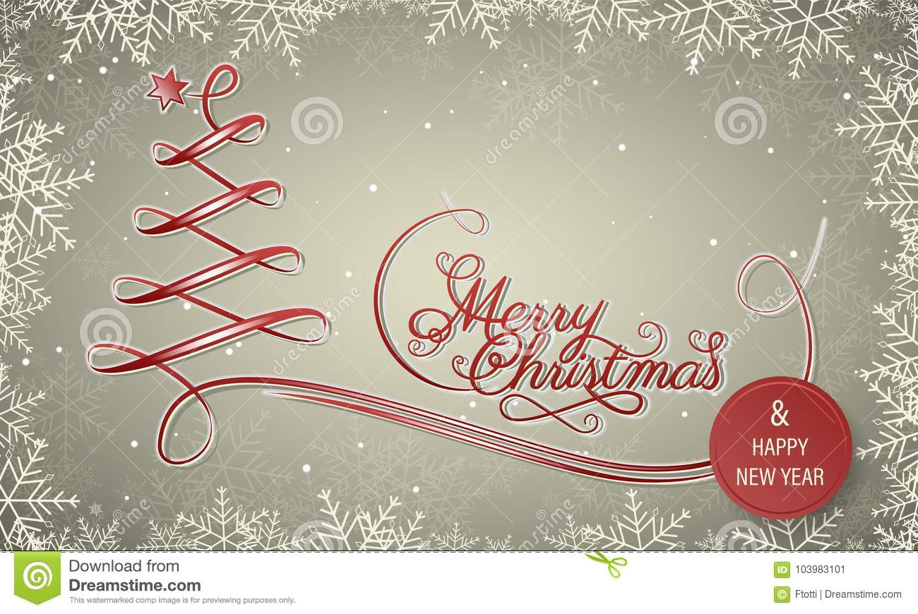 Holiday Winter Banner With Snowflake Frame. Merry Christmas And ...
