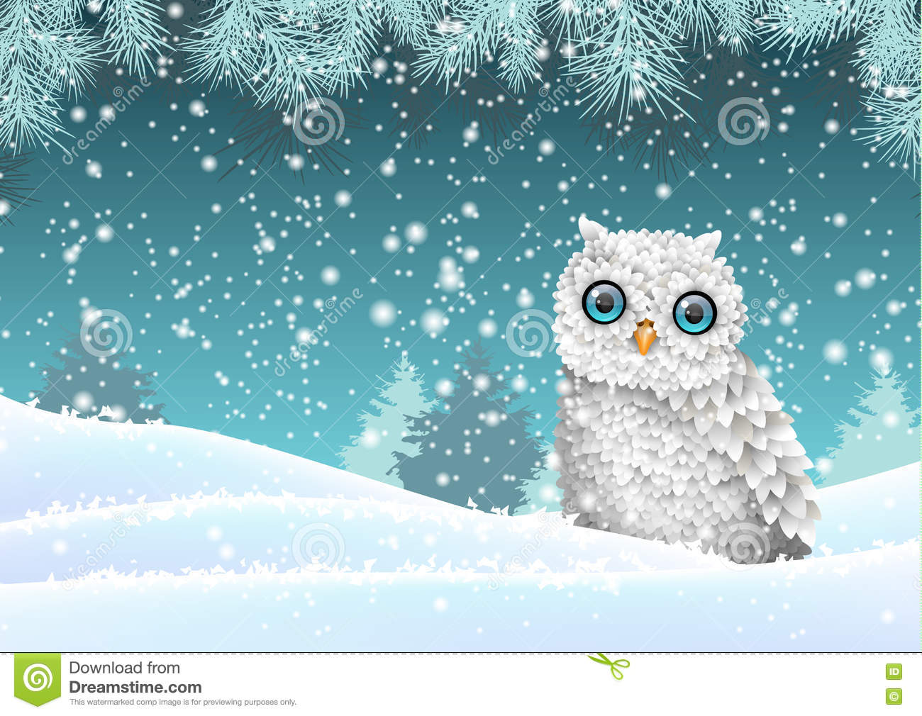 holiday winter theme white owl sitting in snow. Black Bedroom Furniture Sets. Home Design Ideas