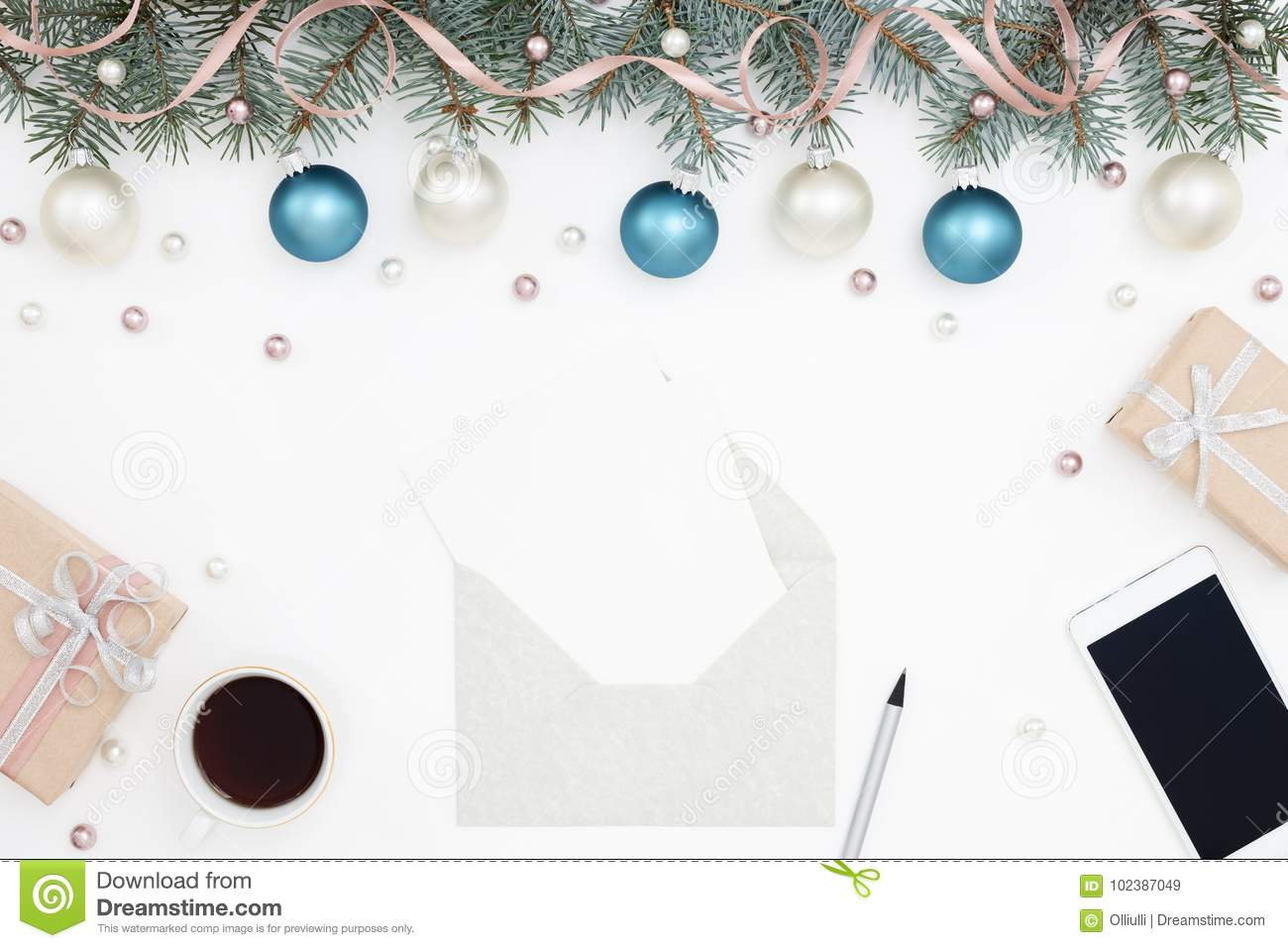Holiday Workplace Gifts Decorations Greeting Cards Stock Image