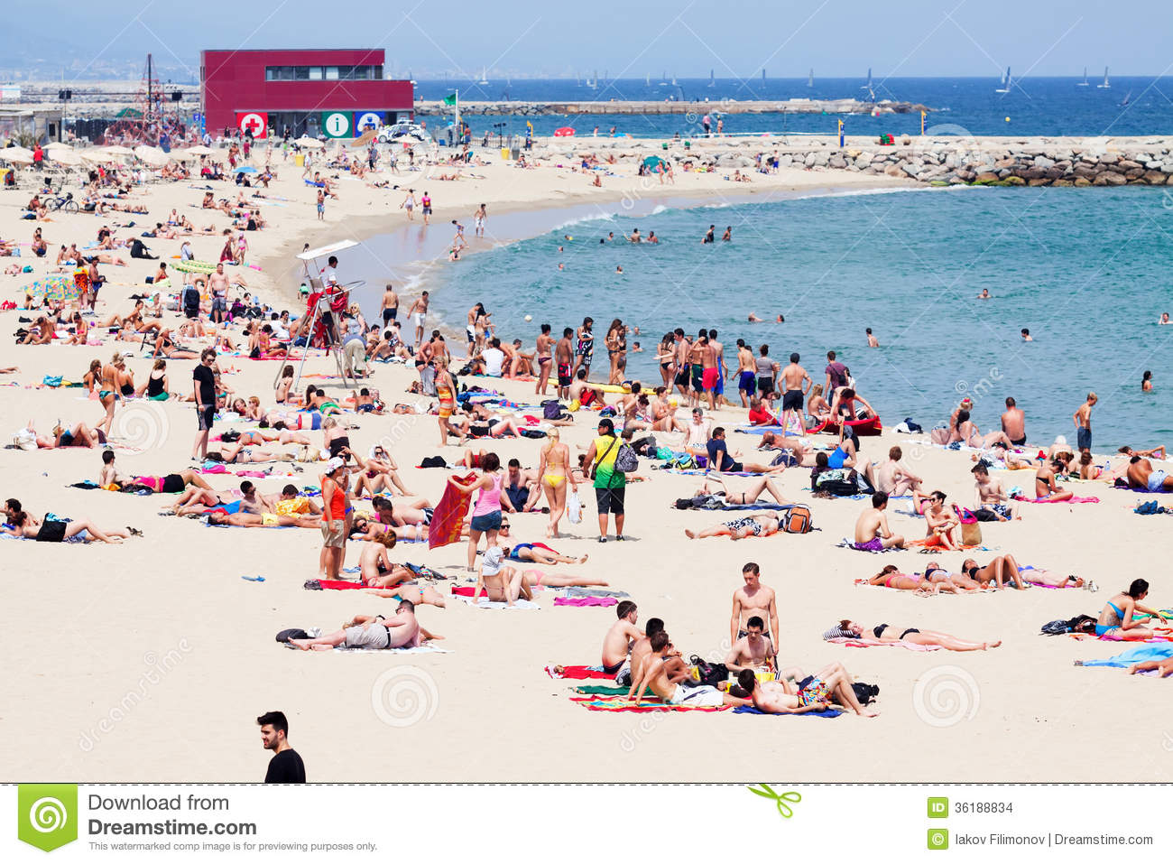 Holidaymakers Sunbathing At Bogatell Beach Editorial Stock ...