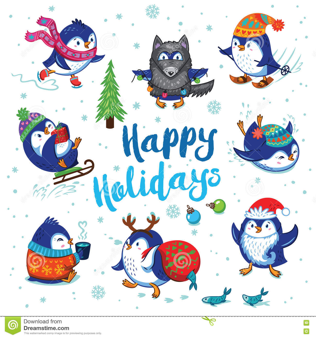 Holidays Card With Cute Cartoon Penguins Stock Vector