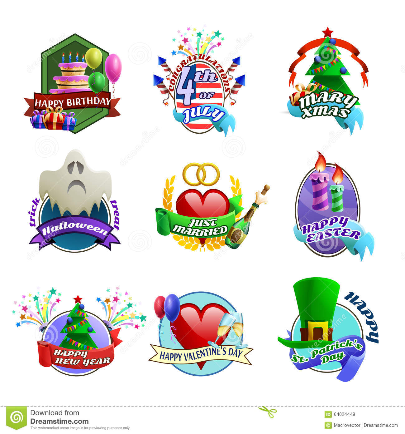 Holidays Celebrations Emblems Collection Stock Vector ...