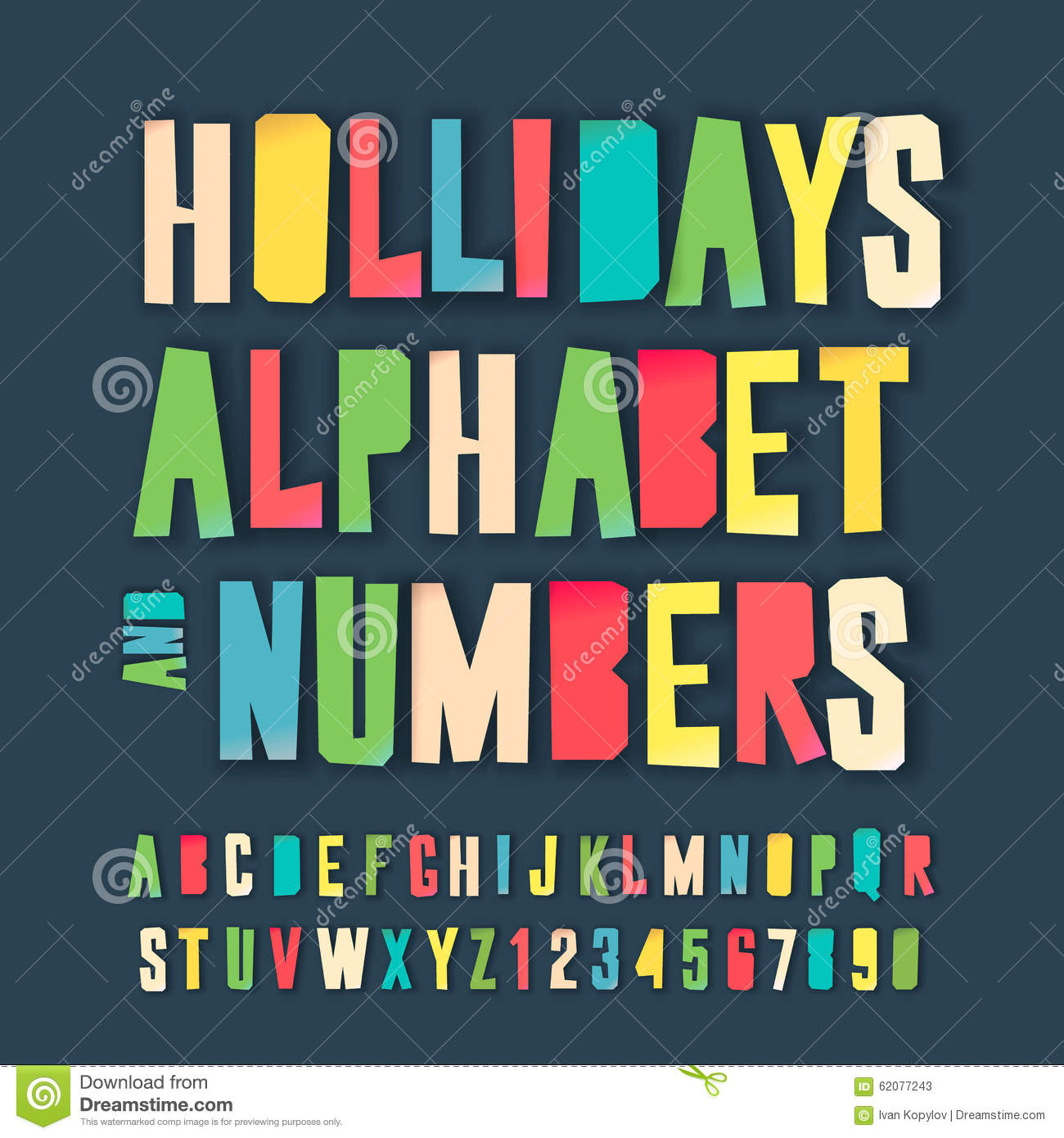 Holidays Colorful Alphabet And Numbers Stock Vector