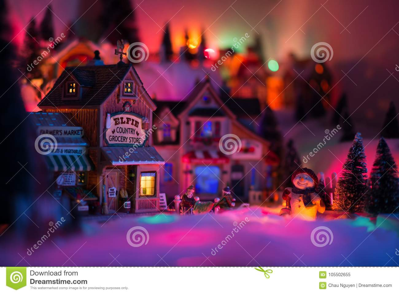 Holidays concept of miniature scenery in Christmas times