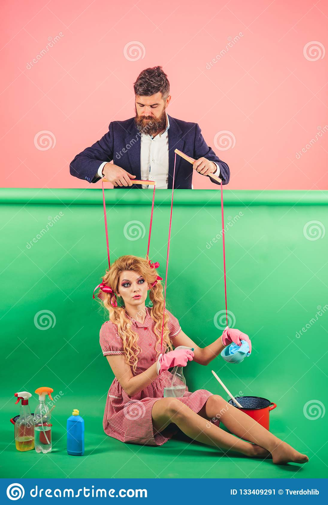 Holidays and doll. dominance and dependence. Housewife. Creative idea. Love. retro girls and master at party. vintage