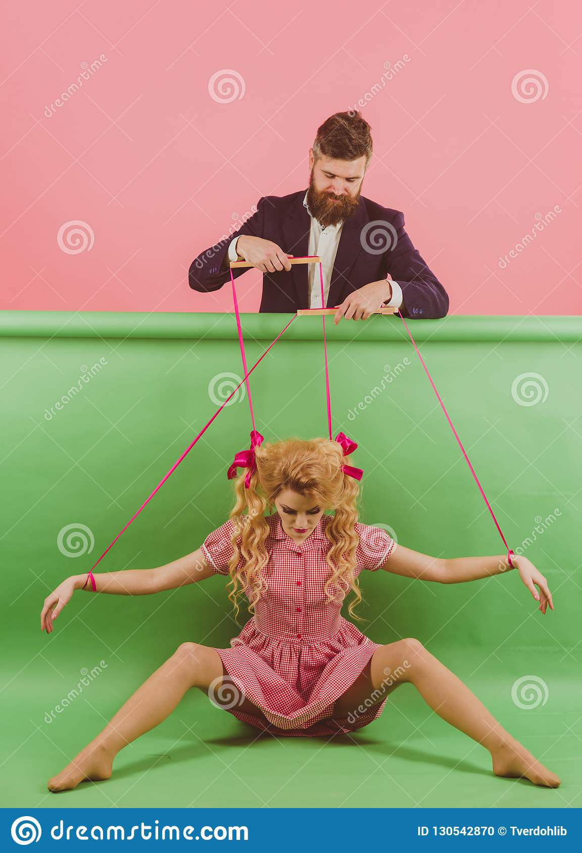 Holidays and doll. dominance and dependence. vintage fashion woman puppet and man. Creative idea. Love. retro girl and