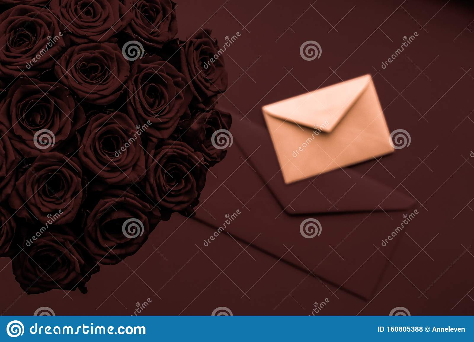 Love Letter And Flowers Delivery On Valentines Day Luxury Bouquet Of Roses And Card On Chocolate Background For Romantic Holiday Stock Photo Image Of Letter Love 160805388