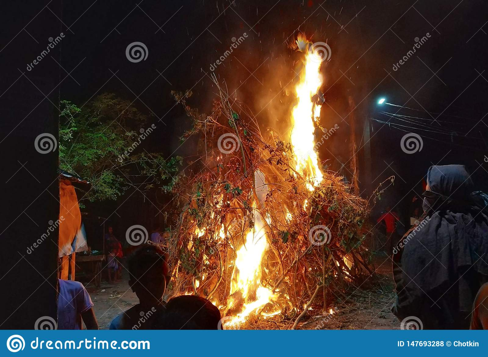 Holika dahan on the eve of Holi