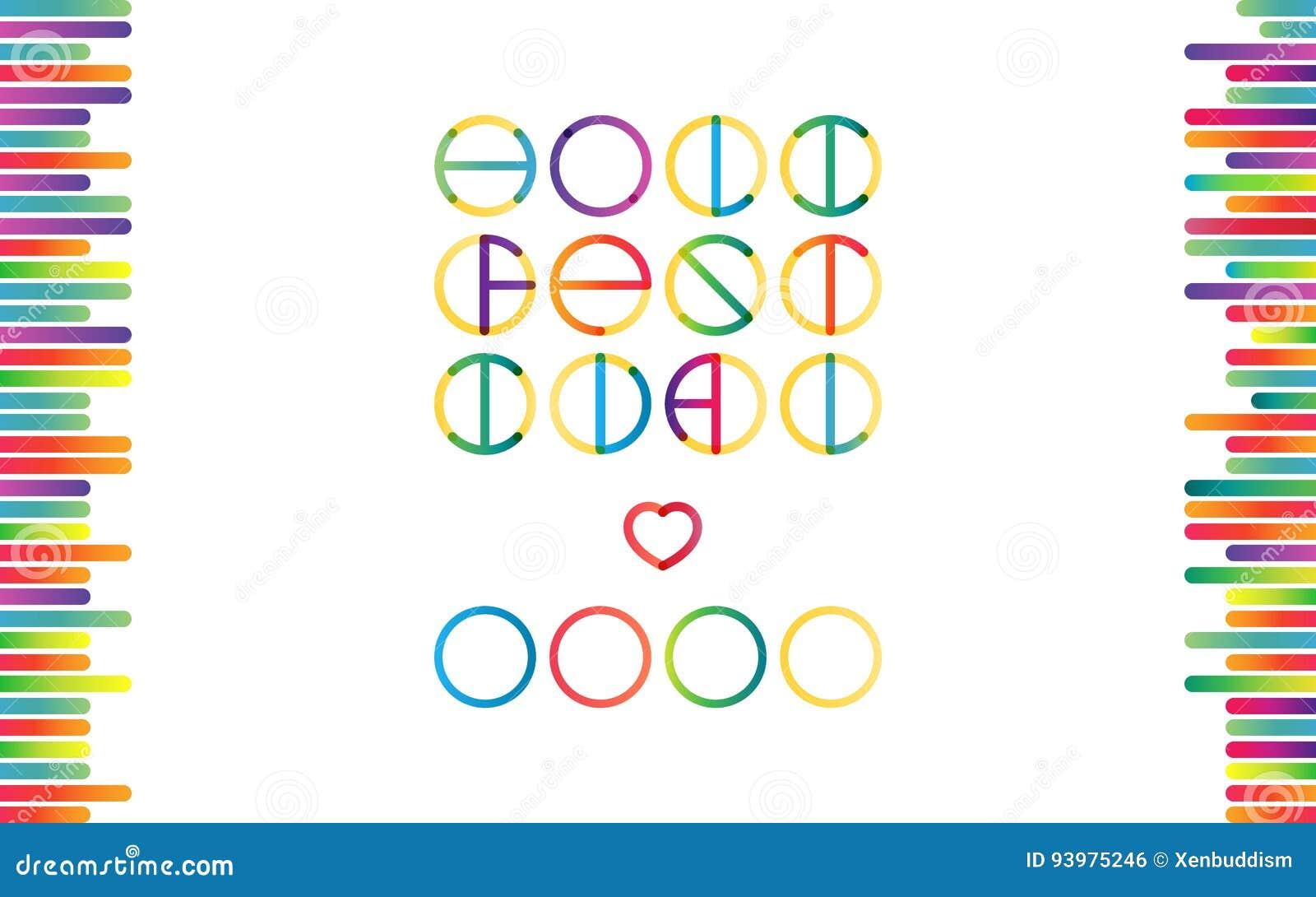 holika festival lettering in color transition trend stock