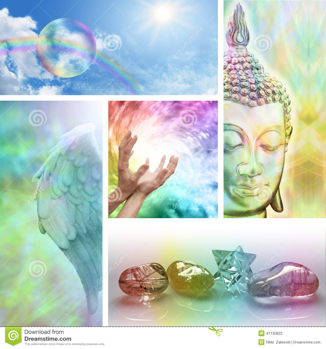 Five different pictures showing aspects of holistic therapy and ...
