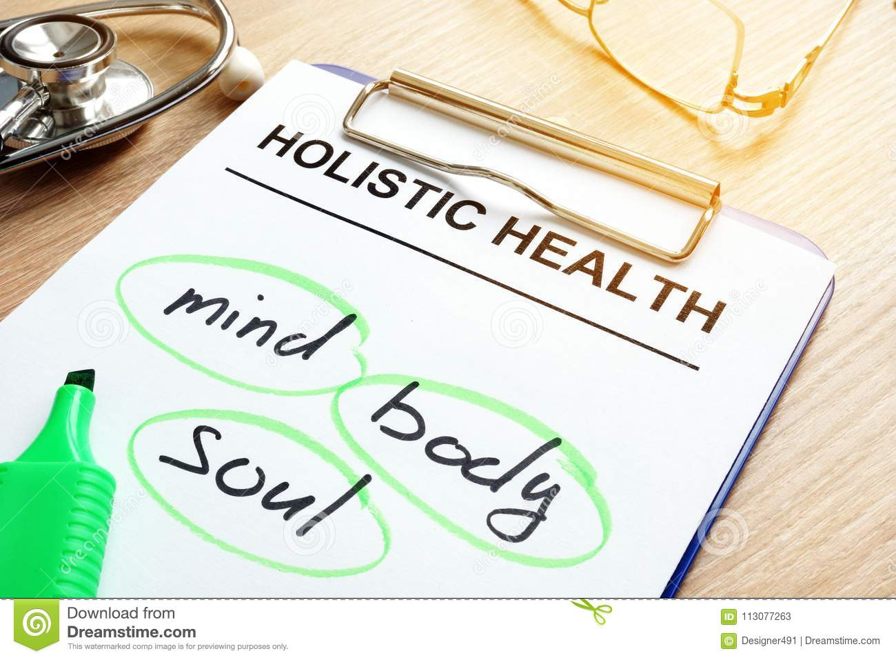 Holistic health and words mind, body and soul.