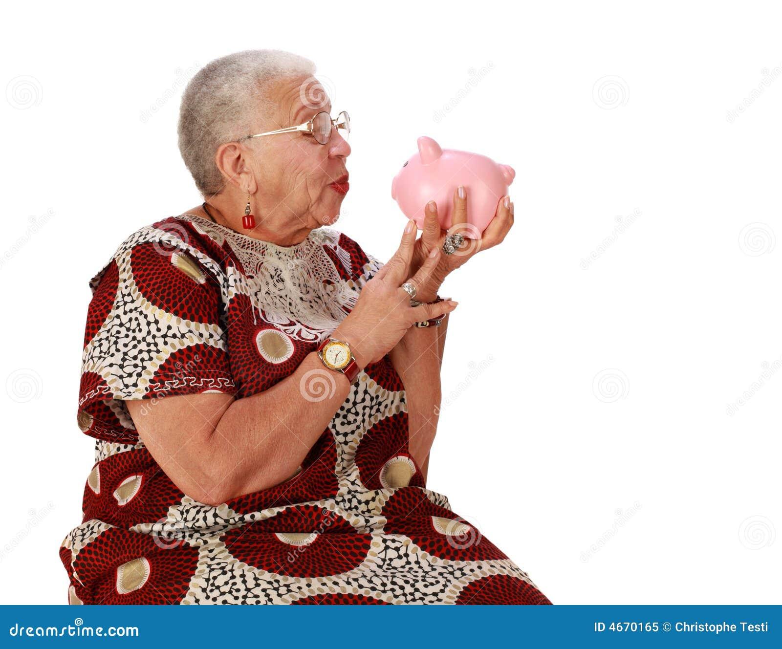 Holkding贪心退休的妇女的银行